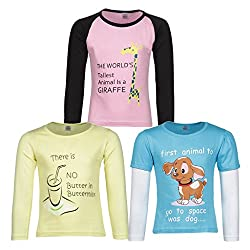Goodway Pack of 3 Girls Full Sleeve Colour T-Shirts Did You Know Theme-5-5-6Years