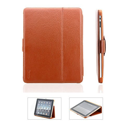 Durable Book Type FLIP Kickstand Leather Case Cover For Apple iPad (Brown)
