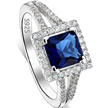 buy Ever Faith® 925 Sterling Silver Princess Cut Sapphire Color .25Ct Cz Daily Ring Blue - Size 9