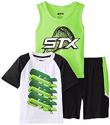 STX Little Boys\' 3 Piece Performance T-Shirt, Tank, and Short, White/Neon Lime/Black, 5/6