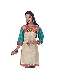Sareez Women's Cotton And Art Silk Printed Yellow Kurti
