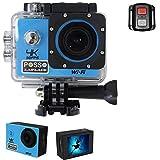 POSSO 「P001R」 4K 30FPS アクションカメラ 16M画素 (ブルー)