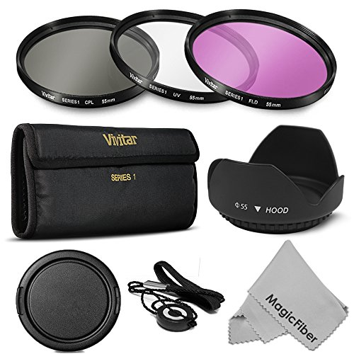 55MM Professional Lens Filter Accessory Kit for SONY Alpha Series - Includes: Vivitar Filter Kit (UV, CPL, FLD) + Carry Pouch + Lens Hood + Snap-On Lens Cap w/ Cap Keeper + MagicFiber Cleaning Cloth (Goja Filter Kit compare prices)