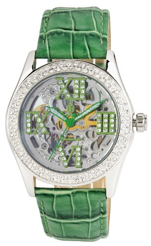 Burgmeister Ravenna Ladies Automatic Skeleton Watch BM140-100A With Swarovski Crystals And Green Leather Strap