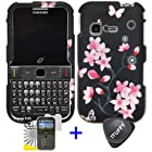 3 items Combo: ITUFFY (TM) LCD Screen Protector Film + Case Opener + Black Pink Sakura Cherry Blossom Flower Pink Rubberized Snap on Hard Shell Cover Faceplate Skin Phone Case for Samsung S390G (Straight Talk / Net 10 / Tracfone)
