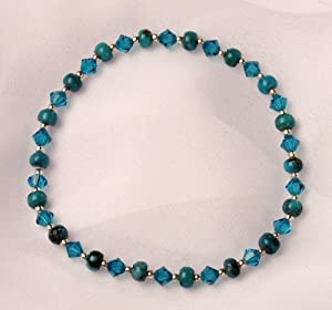 Swarovski Crystal, Chinese Turquoise and Sterling Silver Bracelet