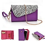 Kroo Link Series Mobile Wallet Clutch fits for Samsung Galaxy S Duos 2 / Samsung Galaxy Ace 3(Purple with White Zebra)