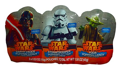 Disney Star Wars Popping Candy Pack of 3 with Lollipop (1.58oz) (Star Wars Candy)