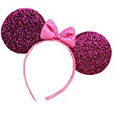 Iebeauty®Minnie Mouse cute glossing Ears Headband,Luxury hair decoration (Red)