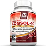 Top Rated COQ10 - PROVEN and PATENTED Results - 2.6x Higher Total CoQ10 COQSOL® Absorption than normal COQ10 - 100mg Maximum Strength Coenzyme Q10 Supplement - Replenish, Protect, Boost, And Energize Your Body - 60 Day Supply - 60 Softgels By BRI Nutrition