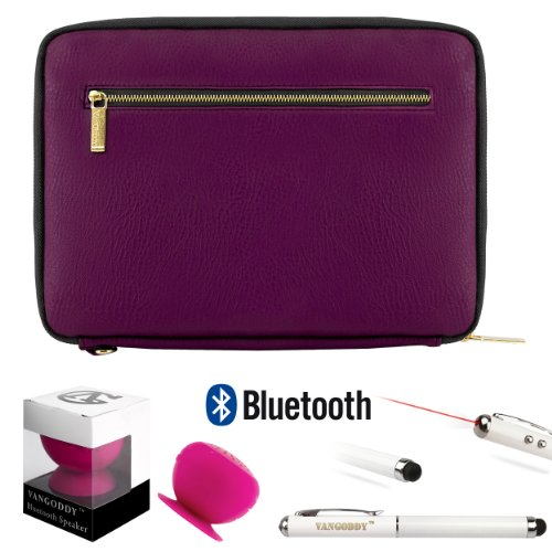 Irista Carrying Leather Sleeve (Purple, Black) For Toshiba Encore Wt8 8-Inch Tablet (Wt8-A32, Wt8-A64) + Bluetooth Suction Speaker + Stylus