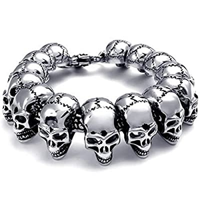 Lovejewelry Large Gothic Skull Biker Stainless Steel Men's Bracelet from Lovejewelry