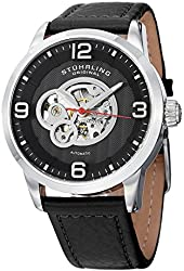 Stuhrling Original Legacy Automatic Self Wind Skeleton Black Genuine Leather Strap Watch