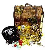 ビンテージ 宝箱 鍵付 ゴールド & シルバー コイン 宝石 海賊 宝箱 セット K-5 KOZIMA オリジナル パッケージ