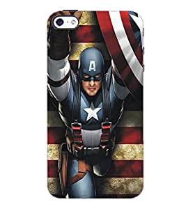 PrintDhaba Captain America D-5182 Back Case Cover for APPLE IPHONE 4 (Multi-Coloured)