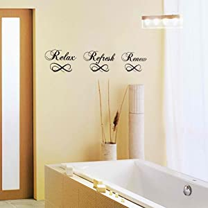 Bathroom wall decal relax refresh renew for Bathroom paintings amazon