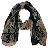 0002 - Large Flower and Effil Tower Print Scarf Available in Navy, Red, Black and Brown Colours