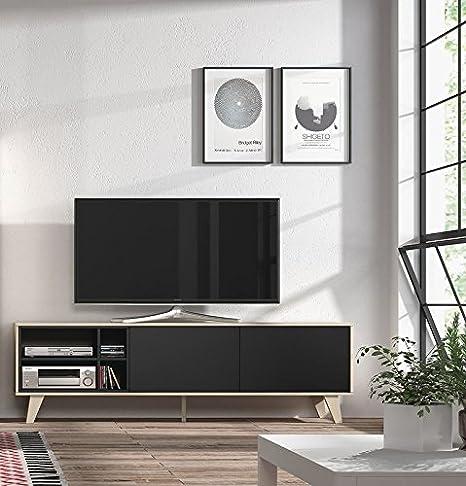 Habitmobel - Mueble de tv, acabado color Roble y Gris Oscuro, medidas 180x54x41 cm de fondo