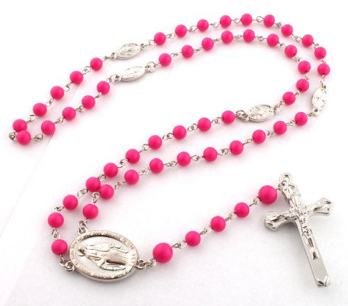 Fuchsia 3D Mother Mary and Jesus Rosary Cross Pendant with a 36 Inch Beaded Chain Necklace