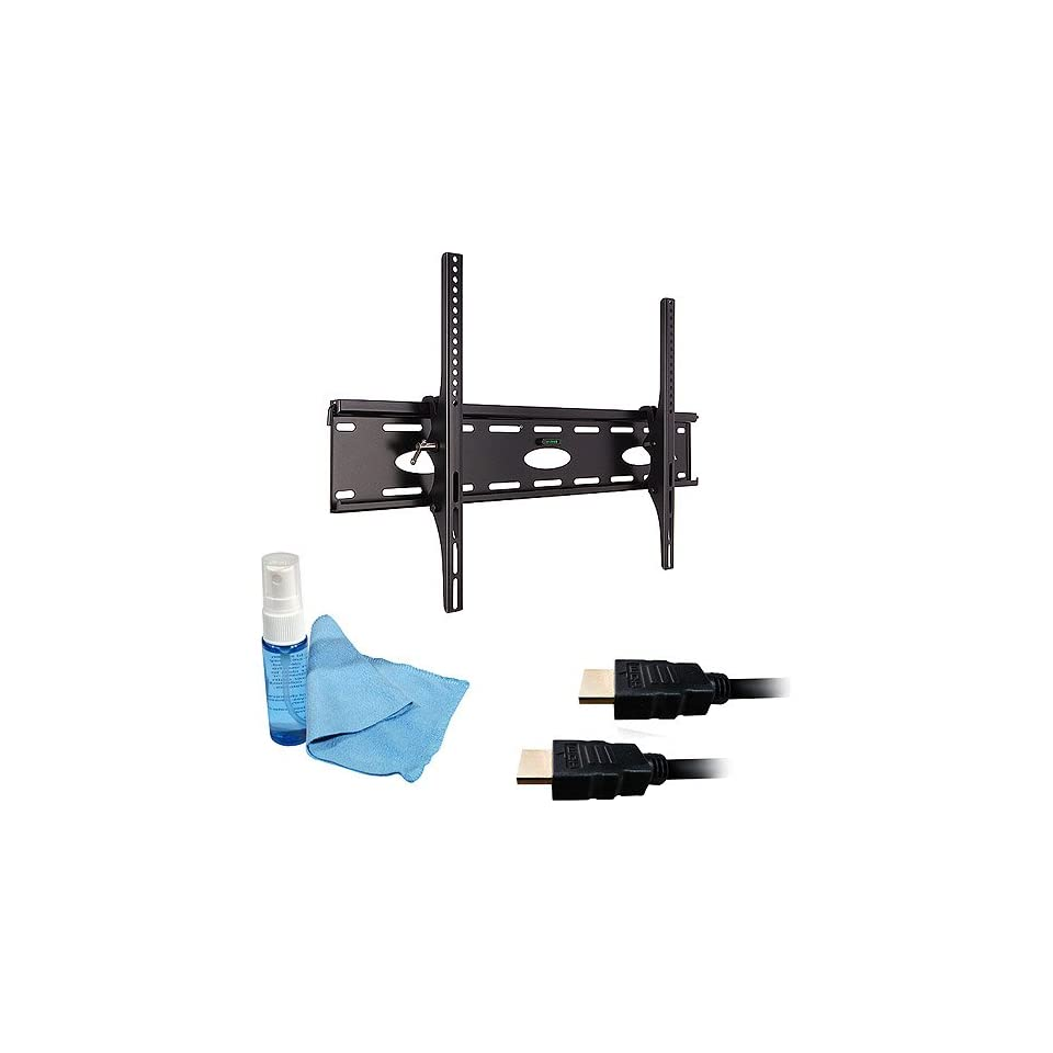 Ematic EMW6001 Universal Fixed or Tilt Plasma LCD LED Flat Panel TV Television Wall Mount Bracket for 37 to 60 inches with FREE Two 1080p HDMI Cables (6ft & 15ft) and Cleaning Kit