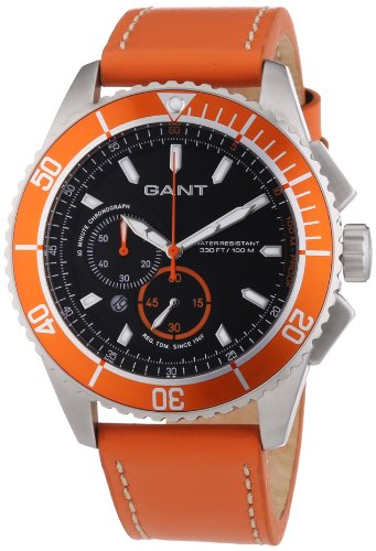 GANT  Seabrook Chrono - Reloj de cuarzo para hombre, con correa de cuero, color naranja