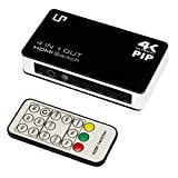 LP HDMI 4 in 1 splitter switch ,with 4K ,IR wireless remote and AC Power adapter ,Headphone Audio Receiver,Home Theater,black