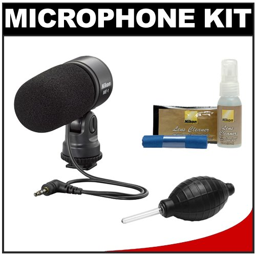 Nikon ME-1 Stereo Microphone for D7000, D5100, D3s, D300s, Coolpix P7000, P7100, 1 V1 Digital Cameras Supplied with Wind Screen and Soft Case with Nikon Cleaning Kit