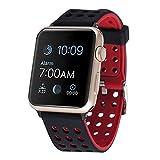 Apple Watch バンド - Apple iWatch/New Apple iWatch Series1/2/Nike+専用柔軟性を持つ材料TPUとTPE製腕時計ストラップ/バンド 交換ベルト (42mm, Black/Red)