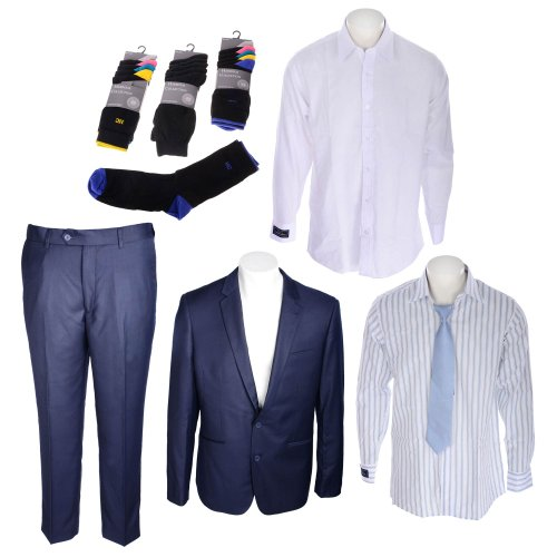 Bundle Mens Thomas Brooks 2 Piece Suit, Thomas Brooks 3 Pack Shirt and Tie, Habour Collection 15 Pack Socks in Size 2XL