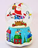 Gisela Graham - Large Christmas Jolly Santa Coming Out Of Chimney Musical Snow Dome / Globe - Gift (A)