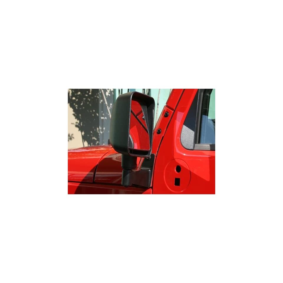 Rugged Ridge OMX11025.04 Jeep Wrangler Black Powdercoat Mirror Relocation Brackets   JK   Mirror Re