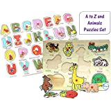 Akhand Colorful Combo Of Educational Alphabets ABC And Animals Wooden Puzzles For Kids