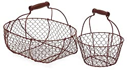 Set of 2 Red Wire Frame Country Baskets with Handles