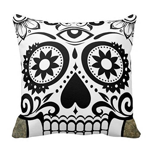 DSL&HXY HLPPC ® Modern Vintage Halloween Crow and Skull Throw Pillow Cover Fashion Home Decorative Pillowcase Cotton Polyester Cusion Cover 18 x 18 Inches One Side