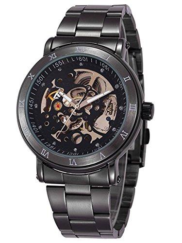 Alienwork Orologio automatico Scheletro meccanico Metallo nero nero W9584-01