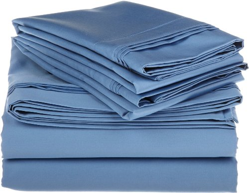 Egyptian Cotton 800 Thread Count Full Sheet Set, Solid, Medium Blue front-999620