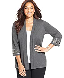 JM Collection Studded Open-Front Cardigan, Charcoal Heather, 1X