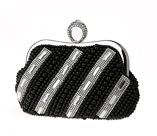 Ladies Elegant Shell Shape Pearl Stripe Bag Clutch Handbag With Chain