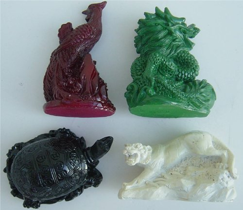 Four Celestial Animals Dragon Phoenix Turtle Tiger Statue