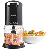 VonShef Mini Black Food Processor Blender Multi Chopper with Detachable Bowl, 2 Year Free Warranty - Suitable for Nuts & Seeds