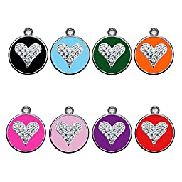 Stainless Steel with Enamel | Dog Tags Pet Tags Cat Tags | Designers Crystal Round Heart| by CNATTAGS (LIFE TIME WARRANTY) (Pink Hot)