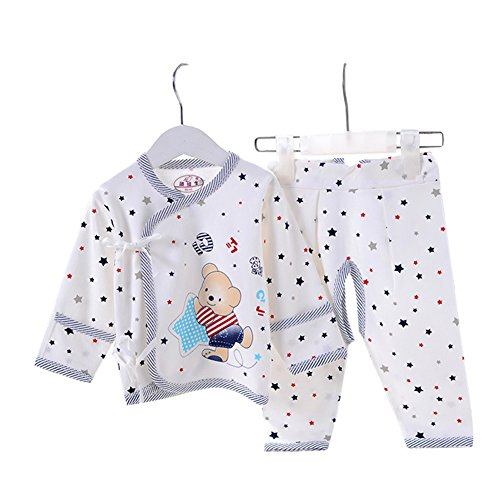 Hibaby Unisex Baby Newborn Bear Print Belted Monk Shirt and Pants 2PCs Set