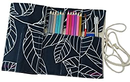 CreooGo Canvas Pencil Wrap, Pencils Roll Case Pouch Hold For 36 Colored Pencils ( Pencils are not included )-White leaf,36 Holes