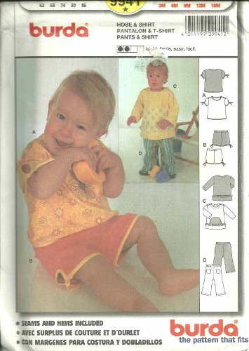 Pants & Shirt (Burda Sewing Pattern 9941, Size: 3M, 6M, 9M, 12M, 18M) front-816427
