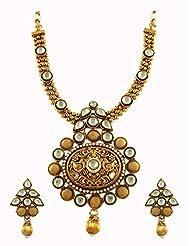 Royal Rajwadi Kundan Traditional Necklace Set With Engraving Work