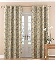 Lucy Jacquard Floral Eyelet Curtains