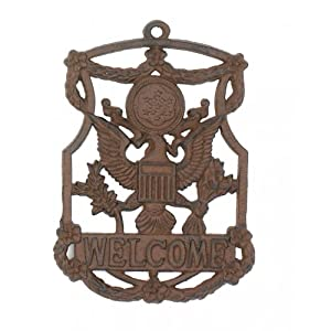 Amazon.com: Cast Iron Eagle Welcome Sign Garden Decor New Hanging ...
