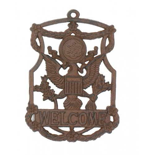 cast-iron-eagle-welcome-sign-garden-decor-new-hanging-wall-plaque