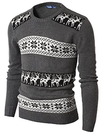 Doublju Mens Crew Neck Sweater with Snowflake Pattern CHARCOAL (US-M)