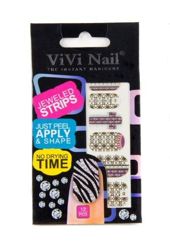 ViVi Nail ヴィヴィ ネイルシール 貼るだけ jeweled strips NS014ー609
